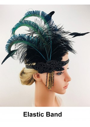 Ladies Great Gatsby 1920's Flapper Feather Headdress lx0260