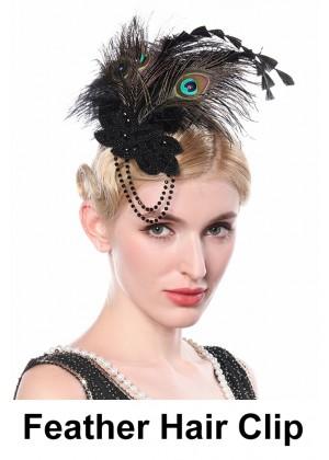 Ladies 1920s Bridal Head Clip Black Peacock Feather lx0263
