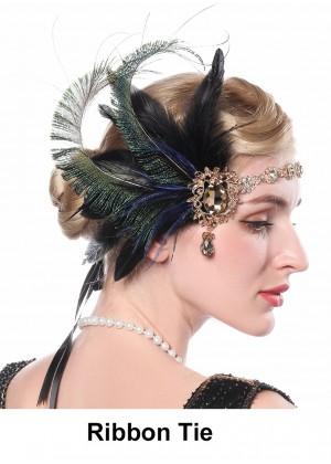 Ladies 1920s Feather Gatsby Flapper Headpiece lx0266
