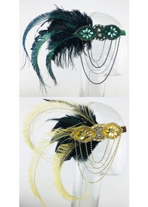 Gatsby 1920s Feather Headdress Fancy Dress lx0268