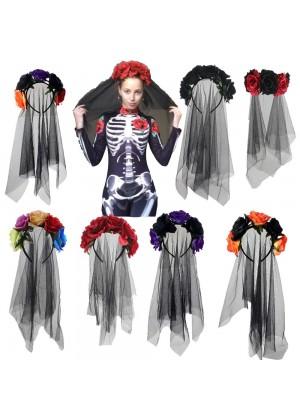 Flower Decor Veil Halloween Headband