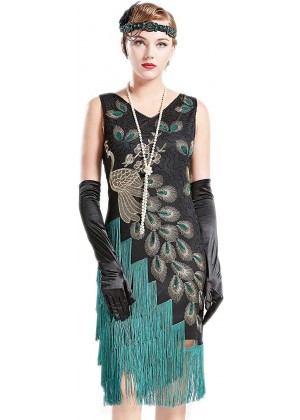 1920s Flapper Dress Costume lx1051bk front