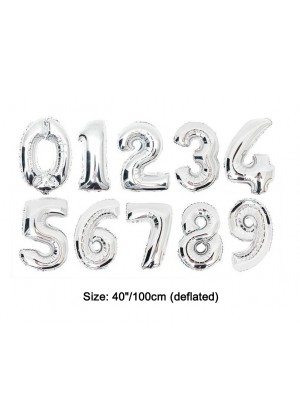 """Silver 40"""" Numbers Air Inflatable Foil Balloon"""