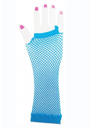 Baby Blue Fishnet Gloves Fingerless Elbow Length 70s 80s Women's Neon Party Dance