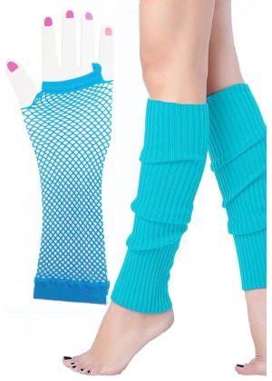 Coobey 80s Neon Fishnet Gloves Leg Warmers accessory set Baby Blue