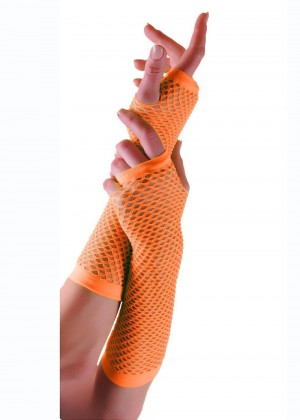 Orange Fishnet Gloves Fingerless Elbow Length 70s 80s Women's Neon Accessories
