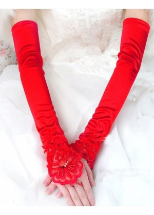 Red Gloves Over Elbow Length 70s 80s 1920s Women's Lace Party Dance Costume