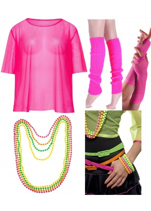 Pink Neon Fishnet Vest Top T-Shirt 1980s Costume Necklace Bracelet legwarmers gloves