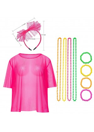 Pink String Vest Mash Top Net Neon Set