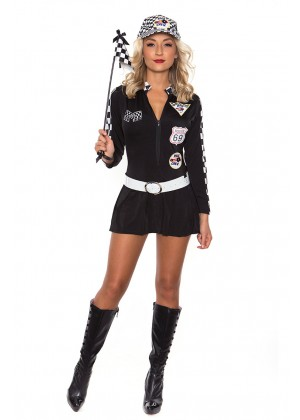 Sports Costumes - Black Sexy Miss Indy Super Car Racer Racing Sport Driver Super Car Grid Girl Fancy Costume Outfit