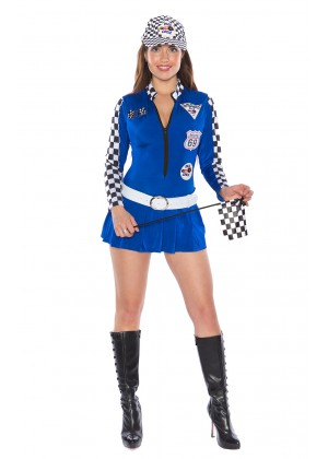 Sports Costumes - Blue Sexy Miss Indy Super Car Racer Racing Sport Driver Super Car Grid Girl Fancy Costume Outfit