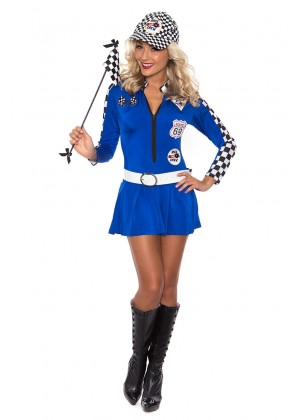 Blue Car Racer Racing Costume Outfit