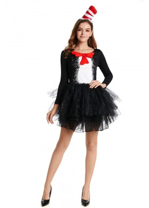 Ladies DR SEUSS CAT IN THE HAT COSTUME DRESS pp1004