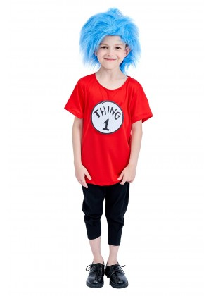 Kids Dr Seuss Cat In The Hat Thing Costume and Wig