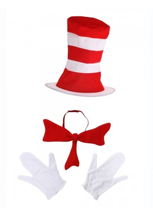 Kids Stripe Cat in the Hat Bow Tie Gloves Book Week Dr Seuss