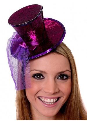 PURPLE Fever Mini Top Hat on headband Ladies Mini Glitter Top Hat