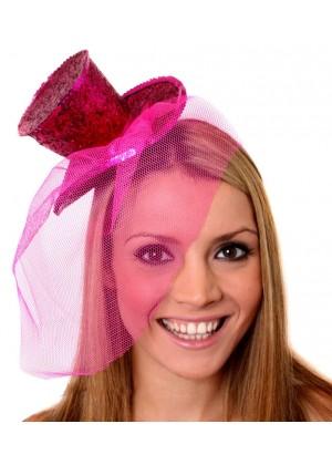HOT PINK Fever Mini Top Hat on headband Ladies Mini Glitter Top Hat