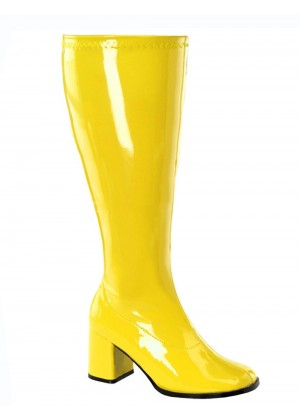 Ladies Go Go White Knee High Wid fit Women Boots Shoes Yellow