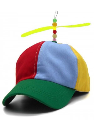 Kids Propeller Beanie Ball Cap Baseball Hat Multi-Color Clown Adjustable Costume Accessory