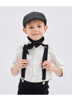 Victorian boy colonial boy costume accessory braces suspenders Black