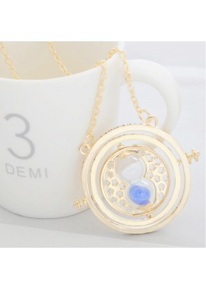 Harry Potter Time Turner Necklace Hermione Granger Rotating Spins Gold Hourglass
