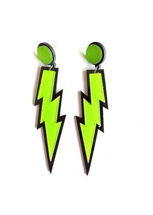 Glitter lightning EARRINGS PLASTIC ROCK star 80s COSTUME Fluro Neon Costume Accessary