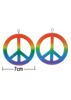Large Rainbow Coloured Clip On CND Peace Earrings 1960 Hippy Pride Fancy Dress