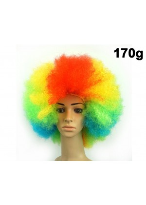 Ladies Mens Multi Coloured Rainbow Circus Afro Clown Costume Accessory Outfit Wig