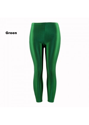 Green 80s Shiny Neon Costume Leggings Stretch Fluro Metallic Pants Gym Yoga Dance
