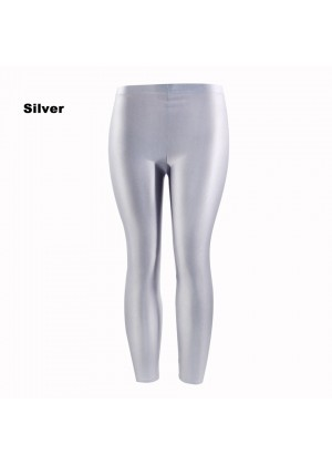 Silver 80s Shiny Neon Costume Leggings Stretch Fluro Metallic Pants Gym Yoga Dance