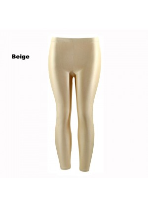 Beige 80s Shiny Neon Costume Leggings Stretch Fluro Metallic Pants Gym Yoga Dance