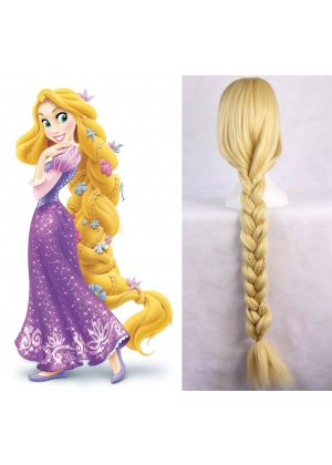 Rapunzel Disney Princess Tangled Story Book Week Women Long Blonde Braid Hair Costume Wig