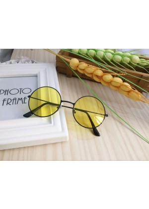 Yellow Retro 80s Round Frame Glasses 1980s