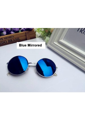 Blue Mirrored Glasses 1980s Round Frame