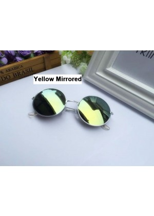 Yellow Mirrored Glasses 1980s Round Frame