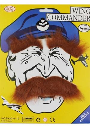 Brown fake moustache set