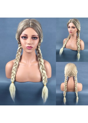 Long Braided Blonde Princess Wig + Hair Cap tt1142