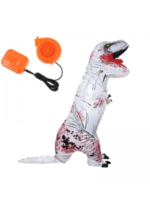 White ADULT T-REX INFLATABLE Costume Jurassic Blowup Dinosaur TRex T Rex