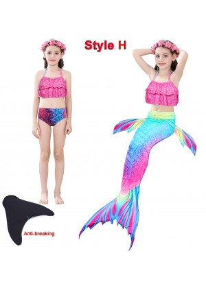 Kids Ariel Mermaid Swimsuit Costume with Monofin