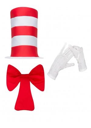 Kids Stripe Cat in the Hat Bow Tie Gloves Children Accessories Boys Girls Book Week Dr Seuss