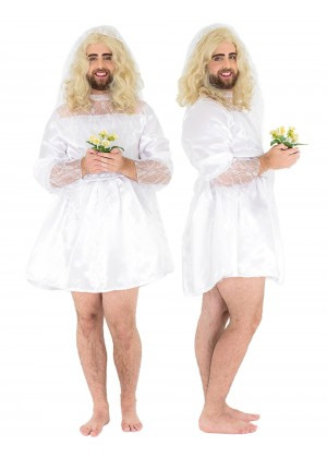 Mens Adult Funny Wedding Dress Bride Stag Party Costume Fancy Dress