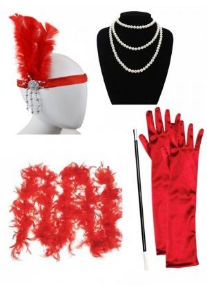 Red 1920s Charleston Ladies 20s Gatsby Burlesque Flapper Fancy Dress Costume Accessory Set