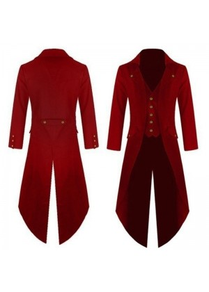 Red Mens Steampunk Vintage Tailcoat Jacket Gothic Victorian Frock Coat Business Suit Ringmaster