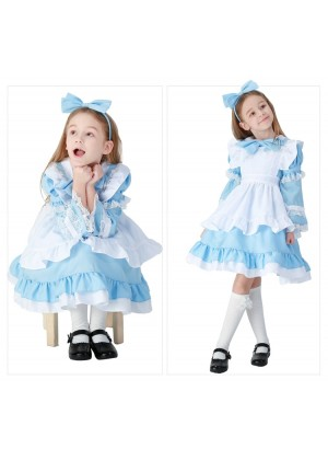 Alice in Wonderland Girls Costume Book Week Fancy Party Dress Kids Child