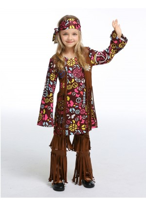 Hippy Costume Childs 60s 70s Groovy Glam Fancy Dress Disco Hippie Outfit 1960s 1970s