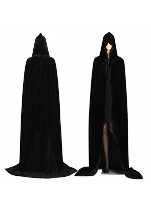 Black Kids Hooded Velvet Cloak Cape Wizard Costume