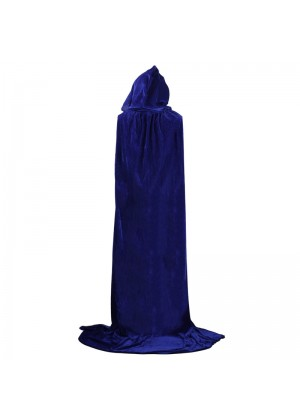 Blue Kids Hooded Velvet Cloak Cape Wizard Costume