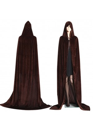 Coffee Kids Hooded Velvet Cloak Cape Wizard Costume