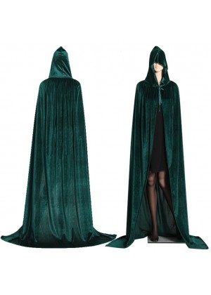 Green Kids Hooded Cloak Cape Wizard Costume
