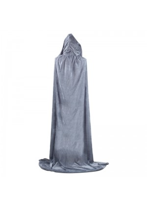 Grey Adult Hooded Velvet Cloak Cape Wizard Costume